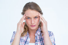 Pretty hipster with headache Stock Photo