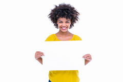 Pretty hipster holding blank sign Stock Image