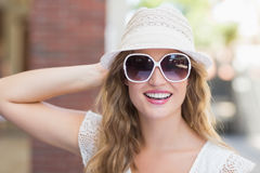 Pretty hipster woman enjoying the sun Stock Image