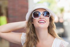 Pretty hipster woman enjoying the sun Stock Photos