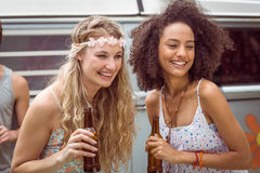 Pretty hipsters toasting with beer Stock Photography