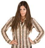 Pretty Hispanic Coy Woman Stock Images