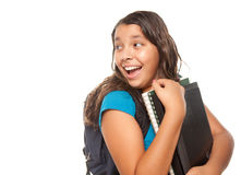 Pretty Hispanic Girl with Books and Backpack Stock Photos