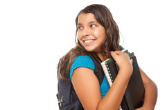 Pretty Hispanic Girl with Books and Backpack Royalty Free Stock Photography