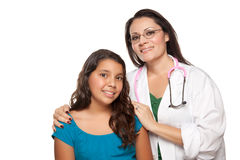 Pretty Hispanic Girl and Female Doctor Stock Photography