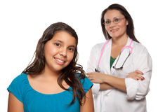 Pretty Hispanic Girl and Female Doctor Royalty Free Stock Photo