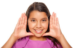 Pretty Hispanic Girl Framing Her Face with Hands Royalty Free Stock Photo