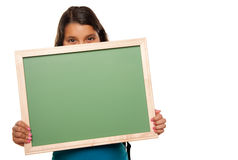 Pretty Hispanic Girl Holding Blank Chalkboard. Isolated on a White Background Stock Photography