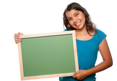 Pretty Hispanic Girl Holding Blank Chalkboard. Isolated on a White Background Stock Images