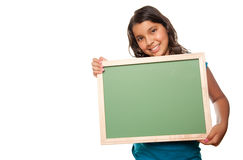 Pretty Hispanic Girl Holding Blank Chalkboard. Isolated on a White Background Royalty Free Stock Images
