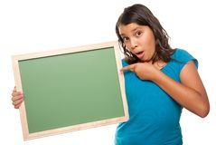 Pretty Hispanic Girl Holding Blank Chalkboard Stock Photo