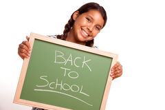 Pretty Hispanic Girl Holding Chalkboard with Back Royalty Free Stock Photo