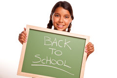 Pretty Hispanic Girl Holding Chalkboard with Back To School Stock Photos