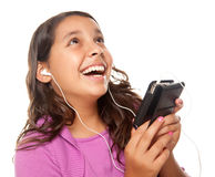Pretty Hispanic Girl Listening and Dancing Royalty Free Stock Photo