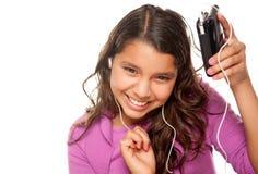 Pretty Hispanic Girl Listening and Dancing Stock Images