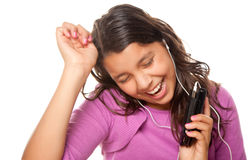 Pretty Hispanic Girl Listening and Dancing to Musi Royalty Free Stock Photos