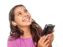 Pretty Hispanic Girl Listening to Music Royalty Free Stock Photo