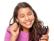Pretty Hispanic Girl Listening to Music Royalty Free Stock Photos