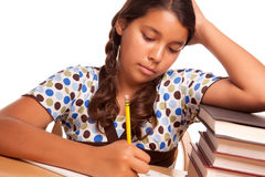 Pretty Hispanic Girl Studying Royalty Free Stock Photos