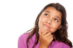 Pretty Hispanic Girl Thinking Stock Photography