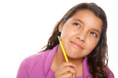 Pretty Hispanic Girl Thinking with Pencil stock photos