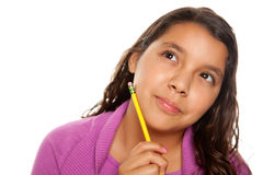 Pretty Hispanic Girl Thinking with Pencil Royalty Free Stock Photo