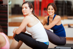 Pretty Hispanic girls at a gym Stock Photo