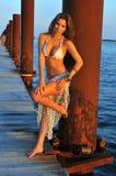 Pretty hispanic swimsuit model posing sexy. Pretty hispanic swimsuit fashion model posing sexy at boat marina location Royalty Free Stock Image