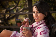 Pretty Hispanic Woman in Bathrobe with Tea Stock Photos