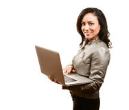 Pretty Hispanic Woman with Laptop Royalty Free Stock Images