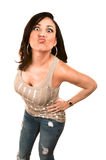 Pretty Hispanic Woman Making a Funny face Stock Images