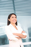 Pretty Hispanic Woman Outside School Stock Images