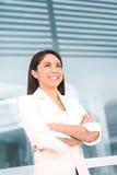 Pretty Hispanic Woman Outside School Stock Images