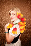 Pretty Hispanic Woman with Plastic Flowers Stock Photography