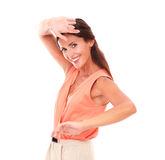 Pretty hispanic young lady gesturing dancing Stock Image