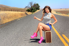 Pretty Hitch Hiker Royalty Free Stock Photos