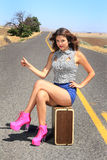Pretty Hitch Hiker Thumbing It Stock Images