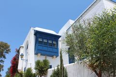 Small building of the white and blue city of Sidi Bou Said in Tunisia royalty free stock images