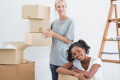 Pretty housemates carrying cardboard moving boxes. And looking at camera in new home Stock Images