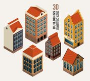 Pretty houses, architecture isometric 3d vector Royalty Free Stock Photography