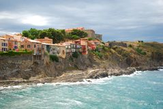 Pretty houses built into the cliffs at Collioure. In the south of France stock photos