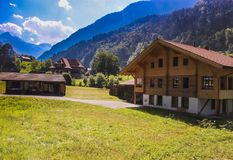 Pretty houses at Grindelwald valley. In summer stock photography