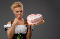 Pretty housewife with a big cake Royalty Free Stock Image