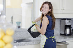 Pretty housewife cooking dinner Stock Images