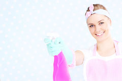 Pretty housewife with spray Stock Photos