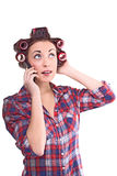 Pretty housewife talking on a cell phone Stock Photo