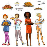 Pretty housewives with meals  Royalty Free Stock Images