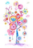 Pretty Illustration of an Abstract Blooming Tree stock illustration