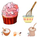 Pretty illustration of a big cupcake and women mixing ingredients. Tiny women mixing for a big cake. Ready made giant cupccake. cute hand drawn illustration royalty free illustration
