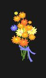 Pretty illustration with flowers. On dark background Royalty Free Stock Images